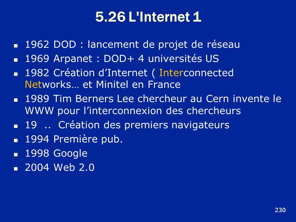 5.26 L'Internet 1 1962 DOD : lancement de projet de réseau 1969 Arpanet : DOD+ 4 universités US 1982 Création dInternet ( Interconnected Networks… et