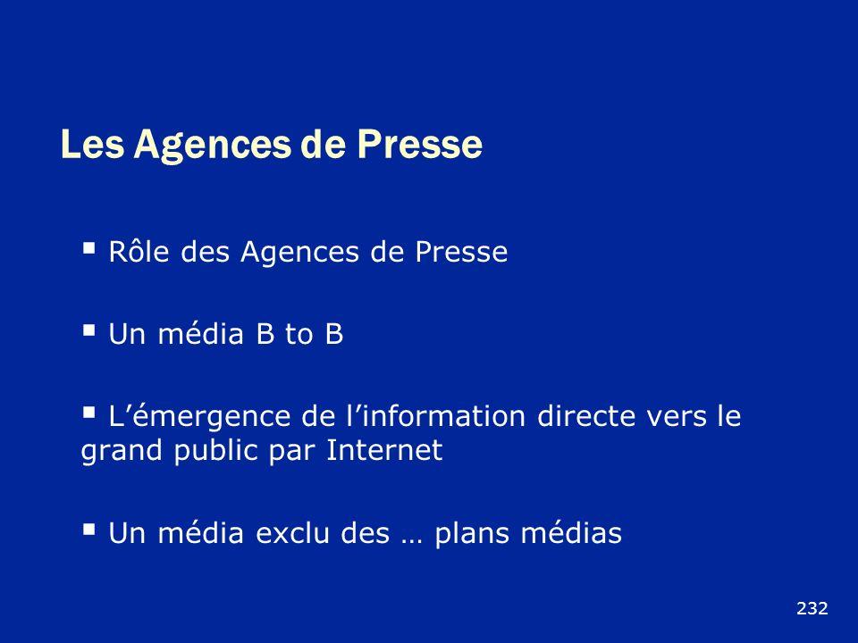 Les Agences de Presse Rôle des Agences de Presse Un média B to B Lémergence de linformation directe vers le grand public par Internet Un média exclu d