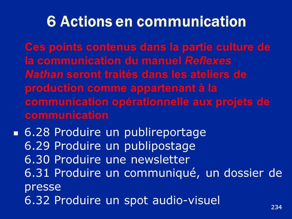 6 Actions en communication 6.28 Produire un publireportage 6.29 Produire un publipostage 6.30 Produire une newsletter 6.31 Produire un communiqué, un