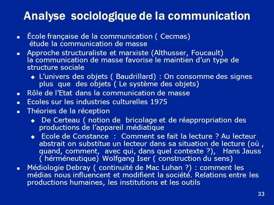 Analyse sociologique de la communication École française de la communication ( Cecmas) étude la communication de masse Approche structuraliste et marx