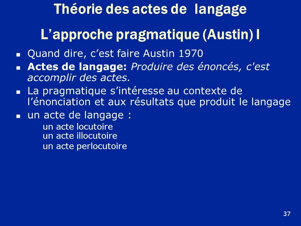 Théorie des actes de langage Lapproche pragmatique (Austin) I Quand dire, cest faire Austin 1970 Actes de langage: Produire des énoncés, c'est accompl