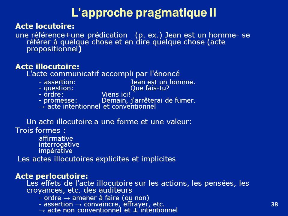 Lapproche pragmatique II Acte locutoire: une référence+une prédication (p. ex.) Jean est un homme- se référer à quelque chose et en dire quelque chose
