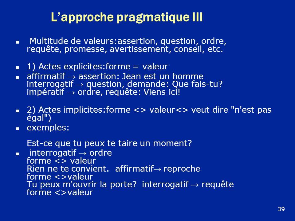 Lapproche pragmatique III Multitude de valeurs:assertion, question, ordre, requête, promesse, avertissement, conseil, etc. 1) Actes explicites:forme =