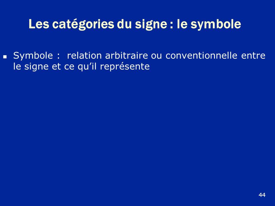 Les catégories du signe : le symbole Symbole : relation arbitraire ou conventionnelle entre le signe et ce quil représente 44