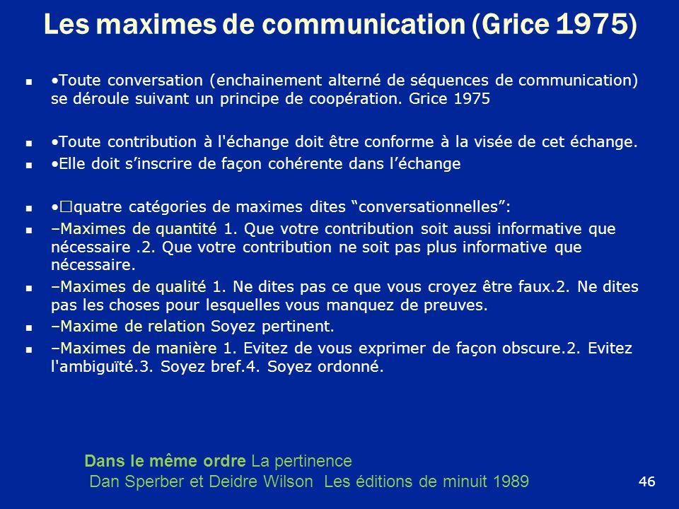 Les maximes de communication (Grice 1975) Toute conversation (enchainement alterné de séquences de communication) se déroule suivant un principe de co