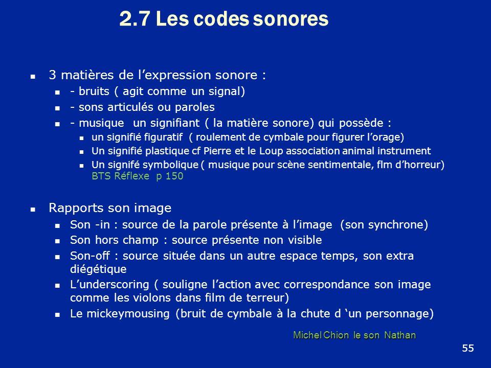 2.7 Les codes sonores 3 matières de lexpression sonore : - bruits ( agit comme un signal) - sons articulés ou paroles - musique un signifiant ( la mat