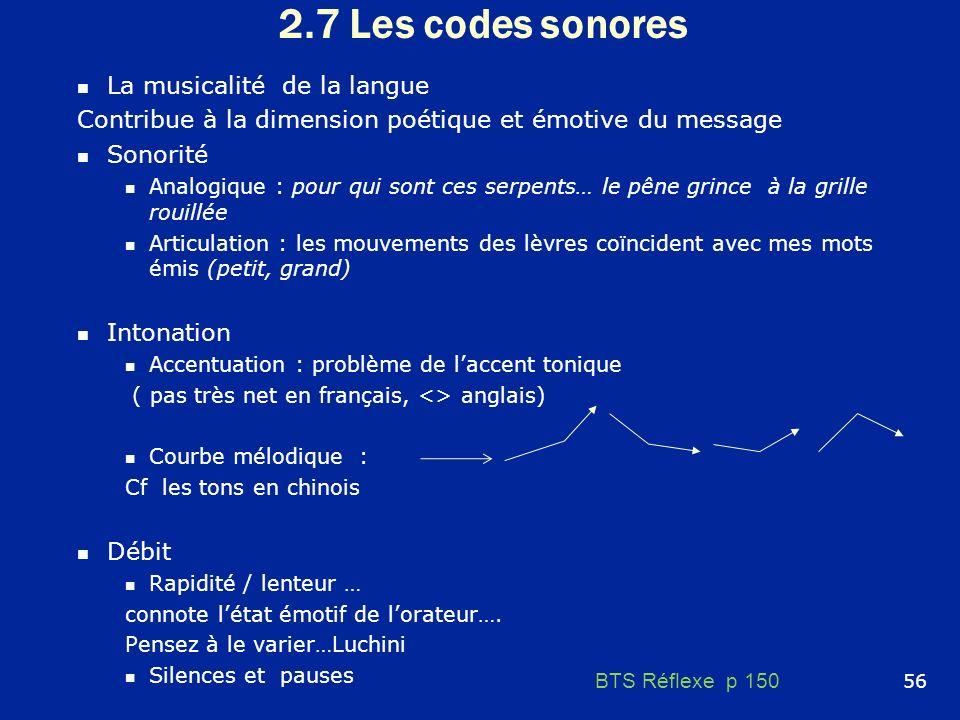 2.7 Les codes sonores La musicalité de la langue Contribue à la dimension poétique et émotive du message Sonorité Analogique : pour qui sont ces serpe