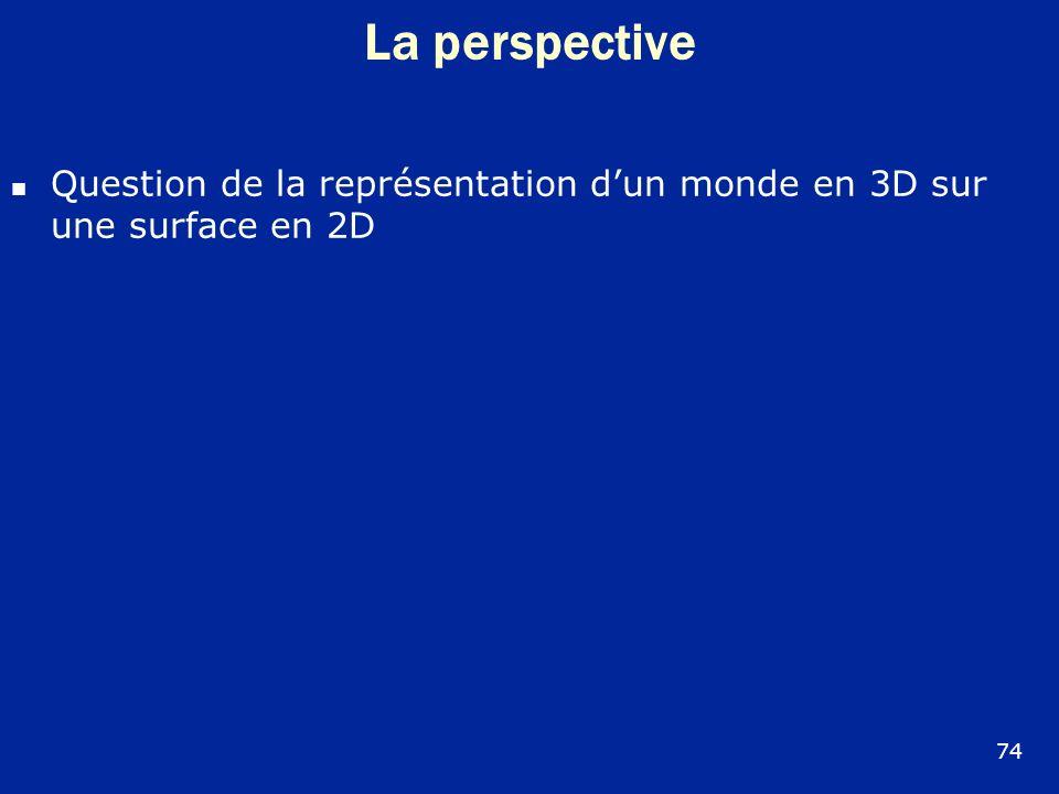 La perspective Question de la représentation dun monde en 3D sur une surface en 2D 74