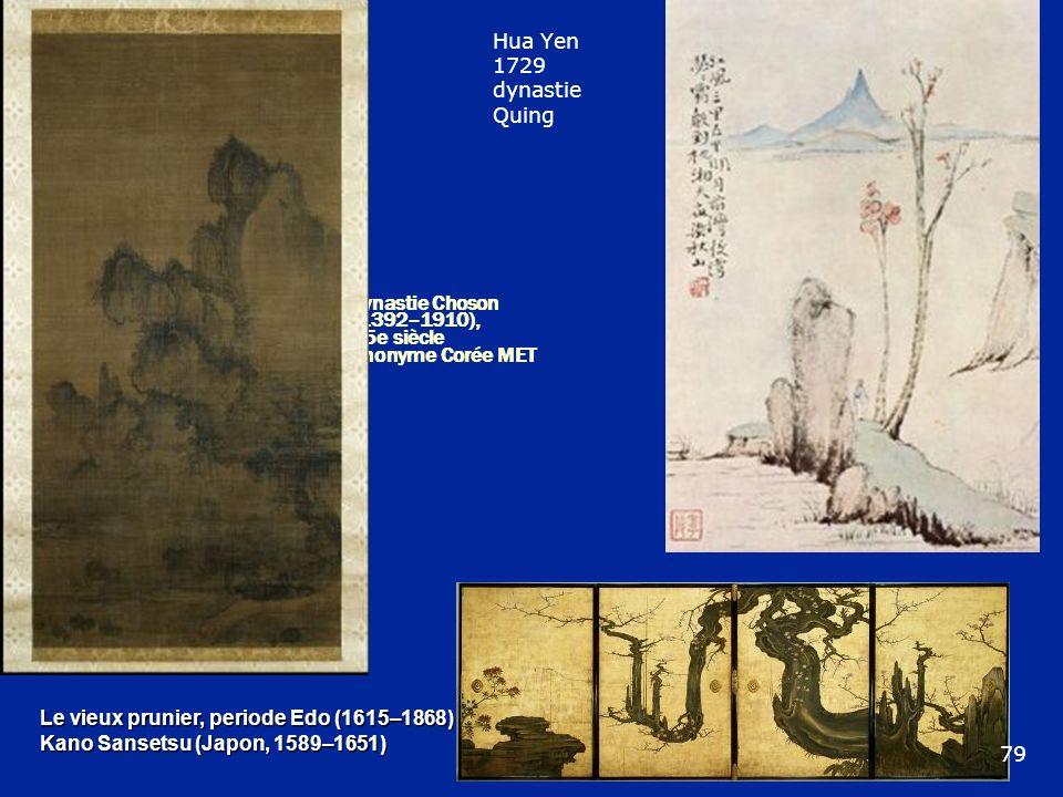 dynastie Choson (1392–1910), 15e siècle anonyme Corée MET Hua Yen 1729 dynastie Quing Le vieux prunier, periode Edo (1615–1868) Kano Sansetsu (Japon,