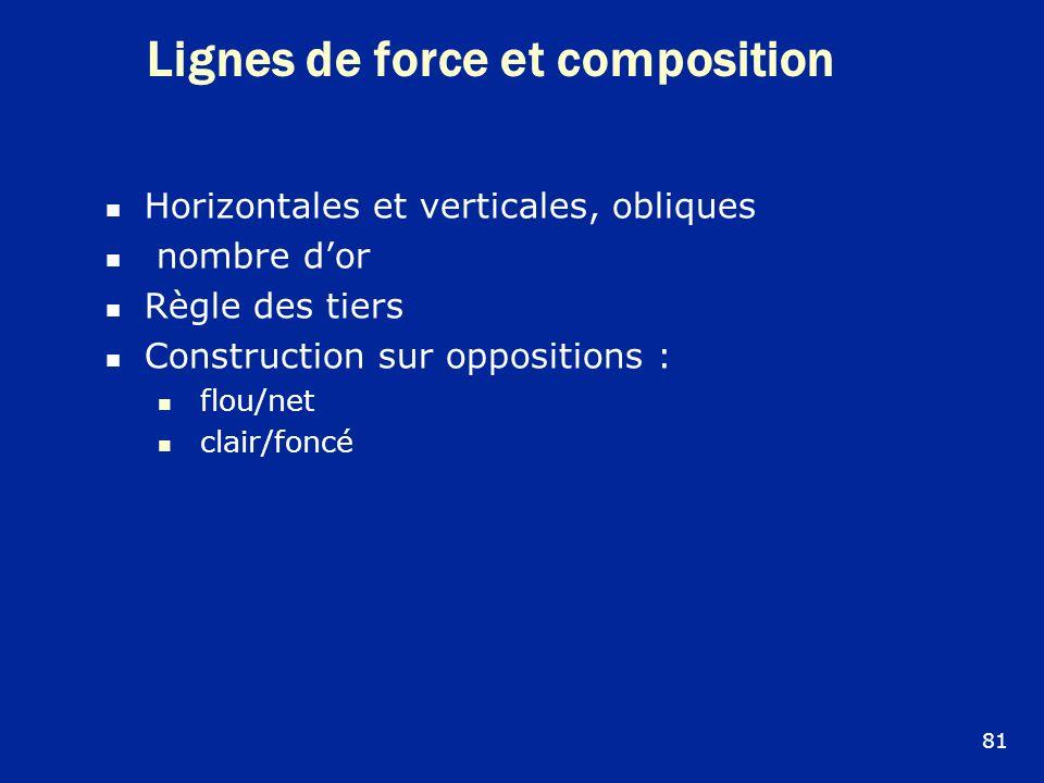 Lignes de force et composition Horizontales et verticales, obliques nombre dor Règle des tiers Construction sur oppositions : flou/net clair/foncé 81