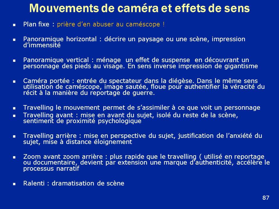 Mouvements de caméra et effets de sens Plan fixe : prière den abuser au caméscope ! Panoramique horizontal : décrire un paysage ou une scène, impressi