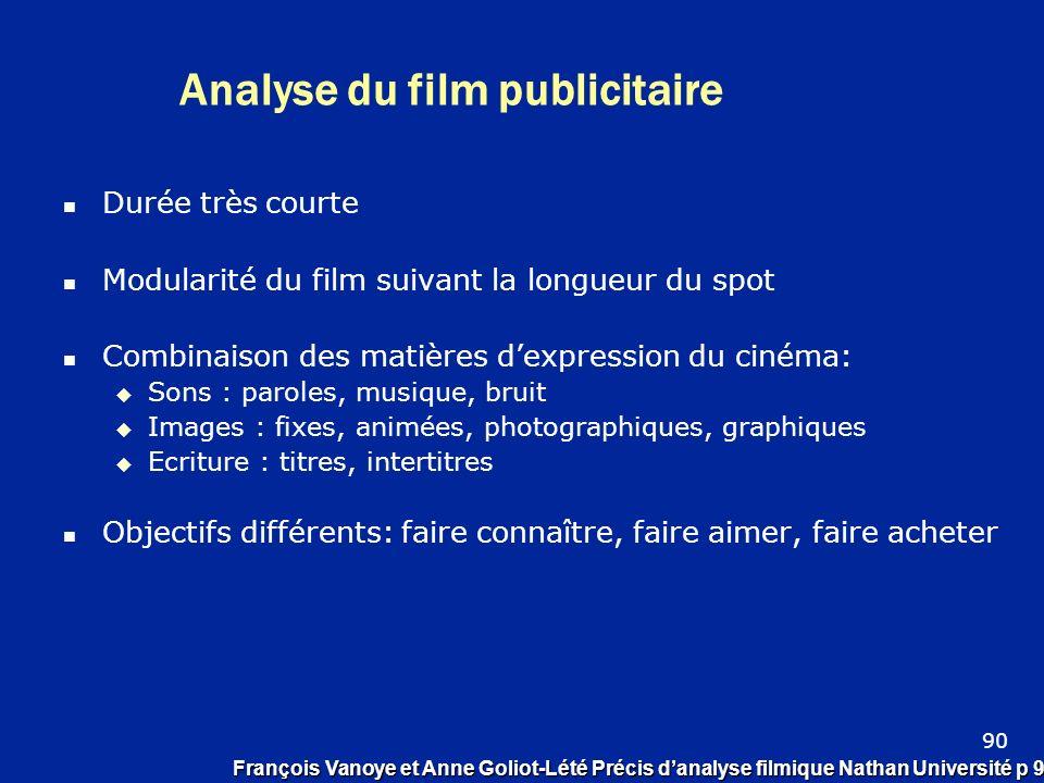 Analyse du film publicitaire Durée très courte Modularité du film suivant la longueur du spot Combinaison des matières dexpression du cinéma: Sons : p