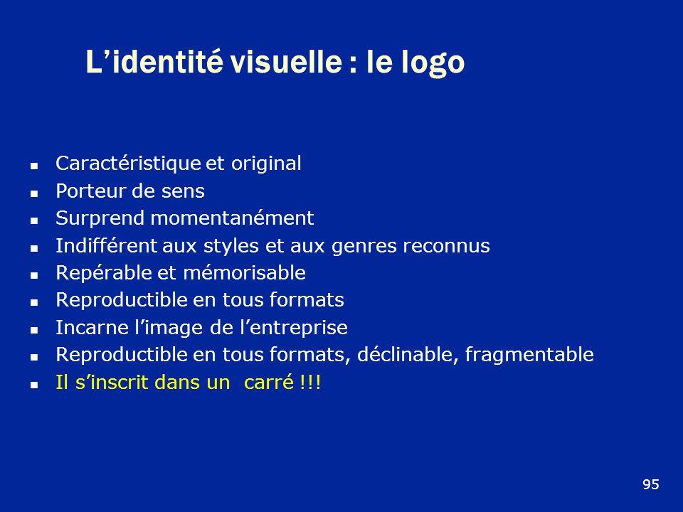 Lidentité visuelle : le logo Caractéristique et original Porteur de sens Surprend momentanément Indifférent aux styles et aux genres reconnus Repérabl