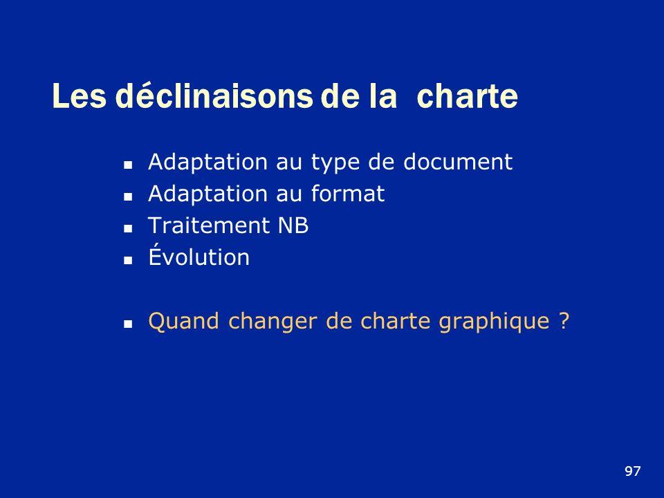 Les déclinaisons de la charte Adaptation au type de document Adaptation au format Traitement NB Évolution Quand changer de charte graphique ? 97