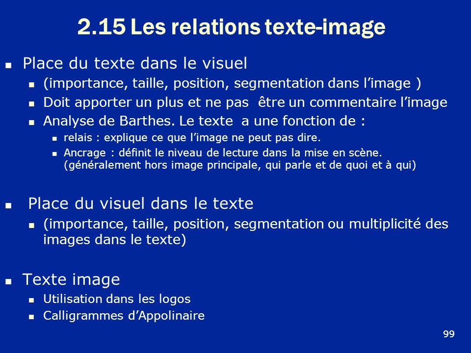 2.15 Les relations texte-image Place du texte dans le visuel (importance, taille, position, segmentation dans limage ) Doit apporter un plus et ne pas