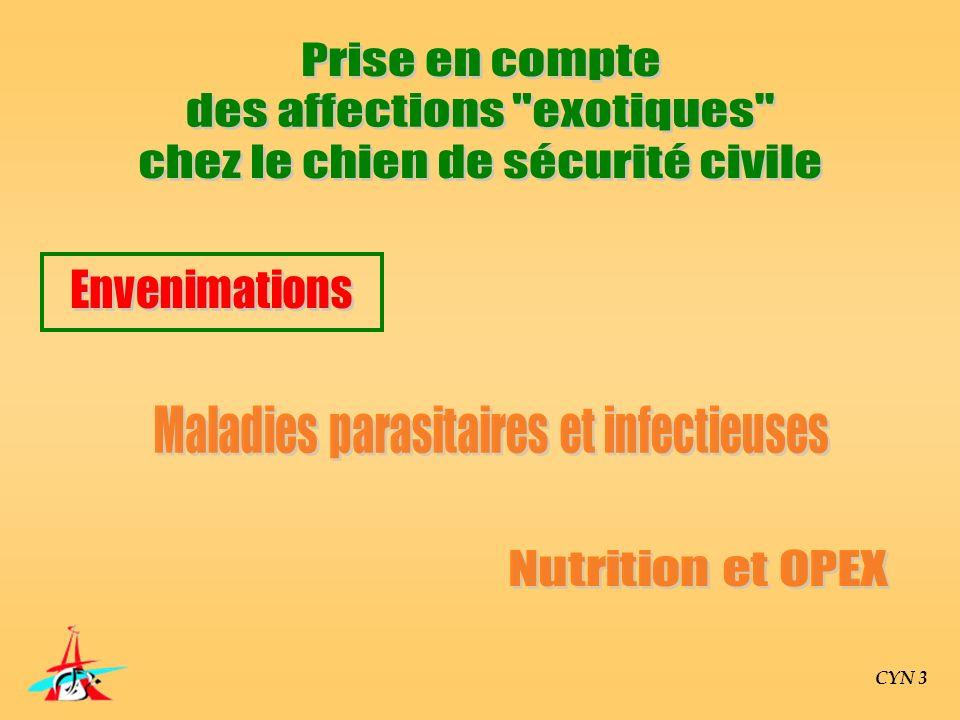 Parasitoses digestives Parasitoses cardio-respiratoires Affections neuro-musculaires Maladies transmises par les tiques CYN 3