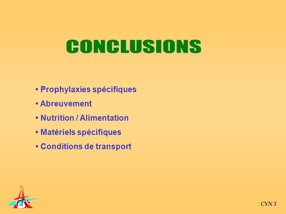 CYN 3 Prophylaxies spécifiques Abreuvement Nutrition / Alimentation Matériels spécifiques Conditions de transport