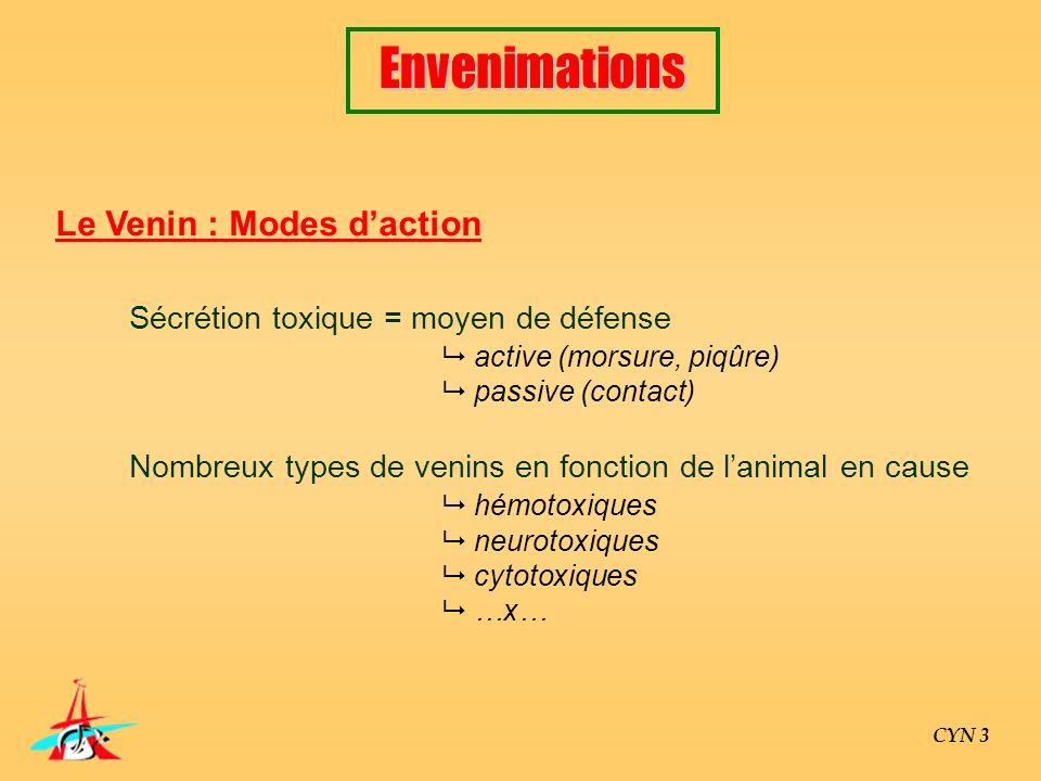 Le Venin : Modes daction Sécrétion toxique = moyen de défense active (morsure, piqûre) passive (contact) Nombreux types de venins en fonction de lanim