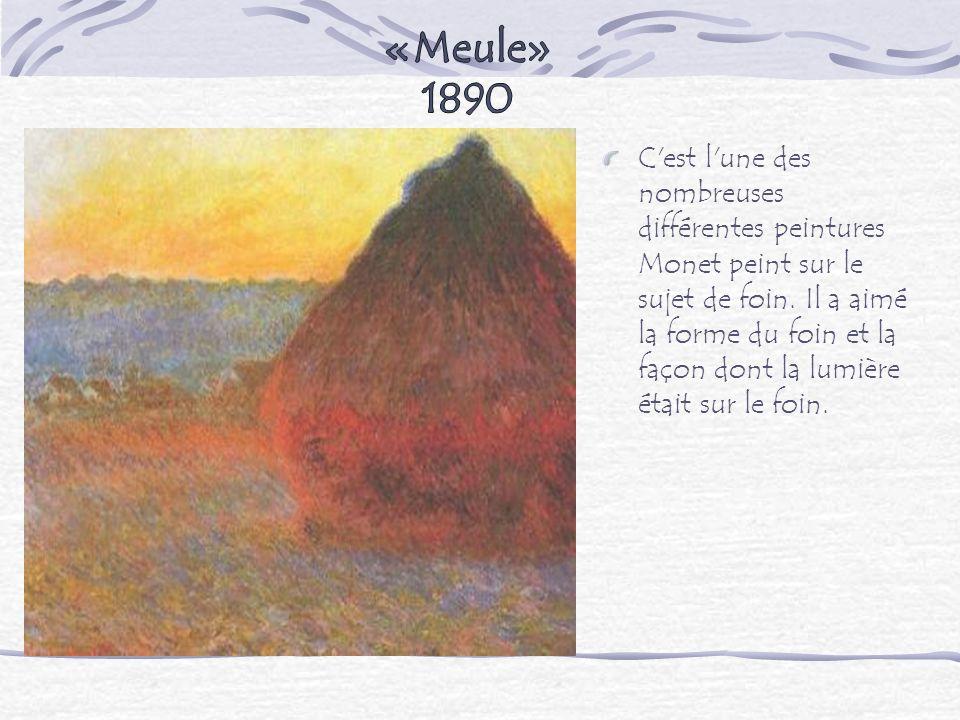 C'est l'une des nombreuses différentes peintures Monet peint sur le sujet de foin. Il a aimé la forme du foin et la façon dont la lumière était sur le