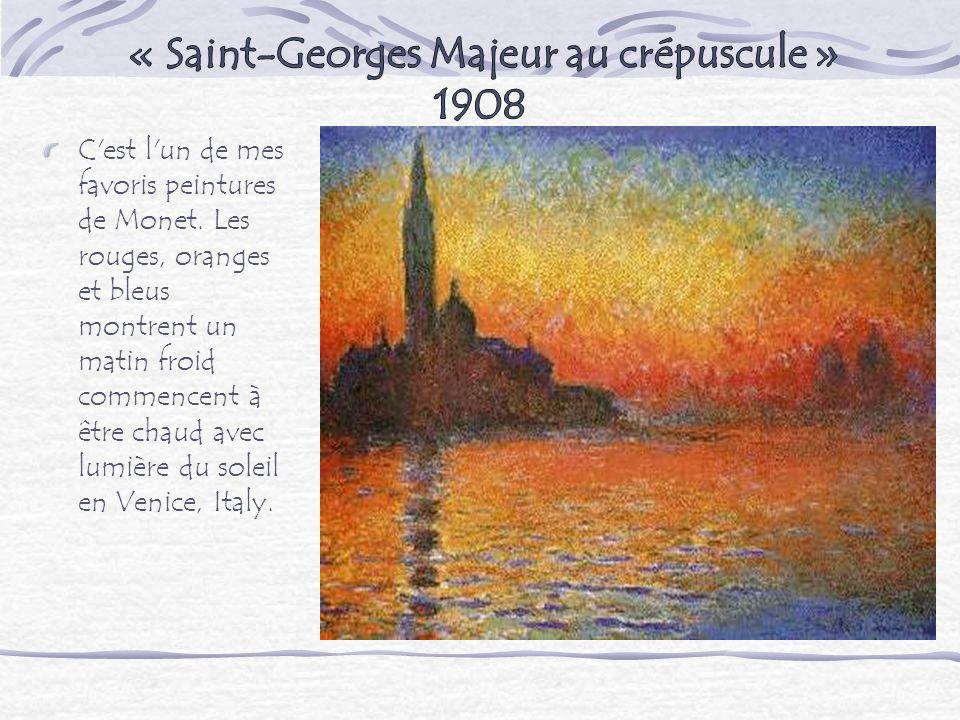 C'est l'un de mes favoris peintures de Monet. Les rouges, oranges et bleus montrent un matin froid commencent à être chaud avec lumière du soleil en V