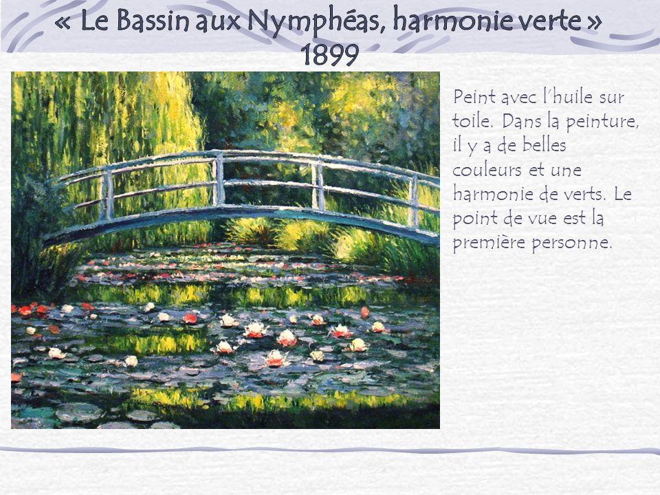 Peint avec lhuile sur toile. Dans la peinture, il y a de belles couleurs et une harmonie de verts. Le point de vue est la première personne.