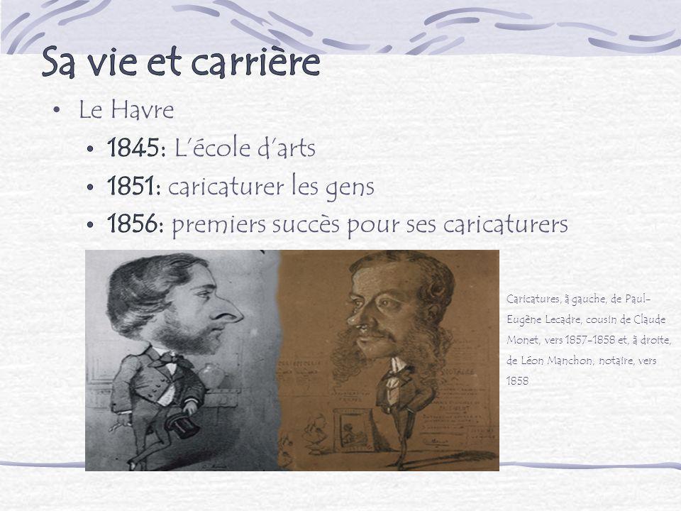 Caricatures, à gauche, de Paul- Eugène Lecadre, cousin de Claude Monet, vers 1857-1858 et, à droite, de Léon Manchon, notaire, vers 1858