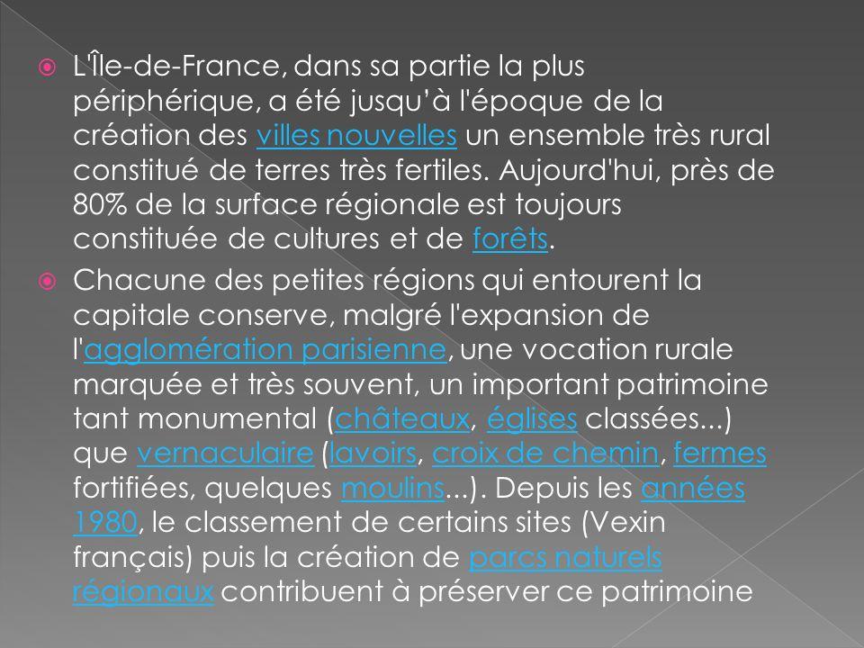 L'Île-de-France, dans sa partie la plus périphérique, a été jusquà l'époque de la création des villes nouvelles un ensemble très rural constitué de te