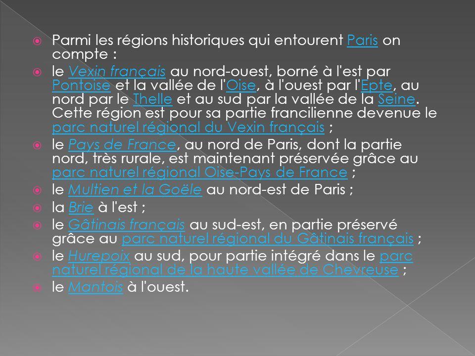 Parmi les régions historiques qui entourent Paris on compte :Paris le Vexin français au nord-ouest, borné à l'est par Pontoise et la vallée de l'Oise,