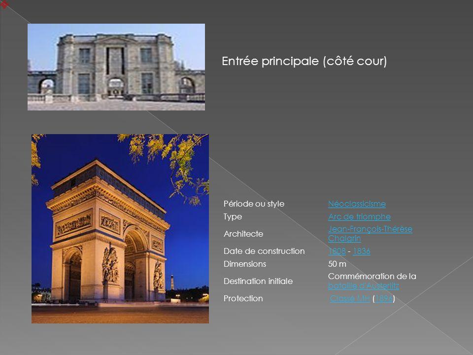 Période ou styleNéoclassicisme TypeArc de triomphe Architecte Jean-François-Thérèse Chalgrin Date de construction18081808 - 18361836 Dimensions50 m De