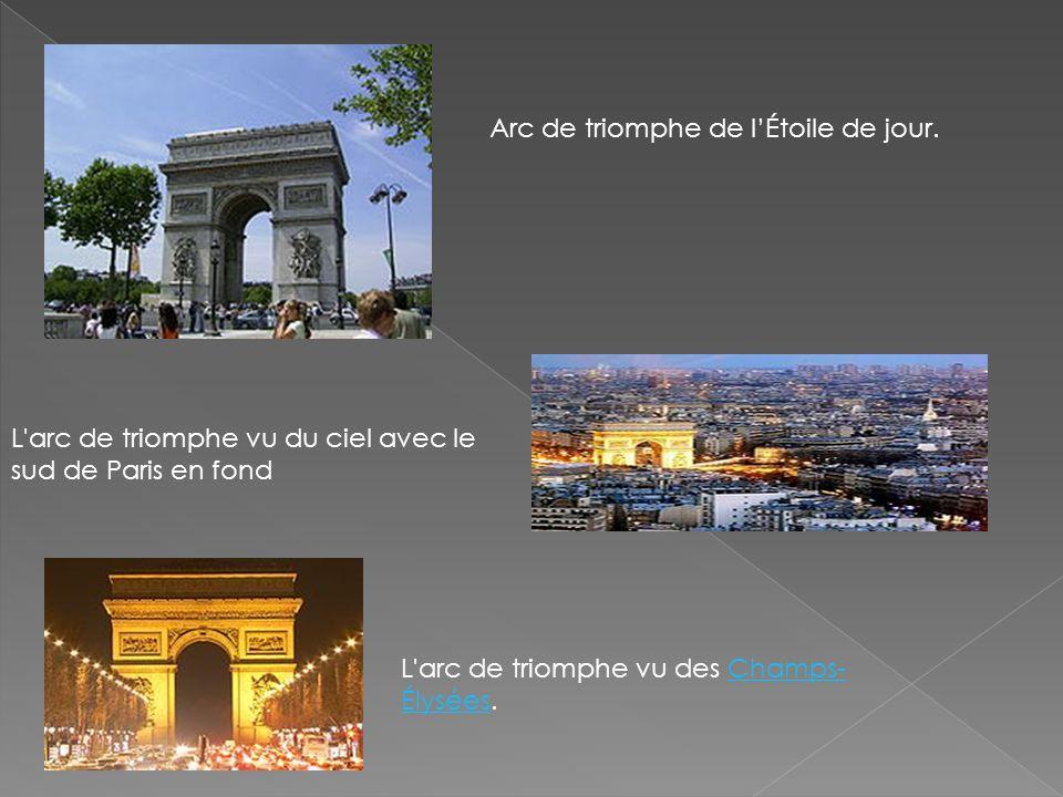 Arc de triomphe de lÉtoile de jour. L'arc de triomphe vu du ciel avec le sud de Paris en fond L'arc de triomphe vu des Champs- Élysées.Champs- Élysées