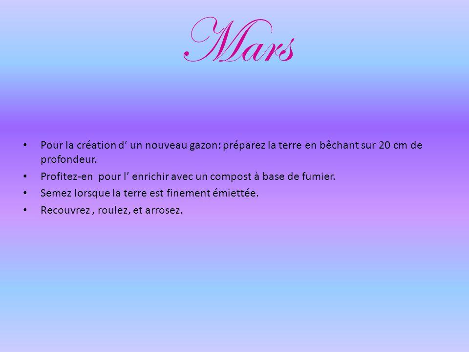 Mars Pour la création d un nouveau gazon: préparez la terre en bêchant sur 20 cm de profondeur.