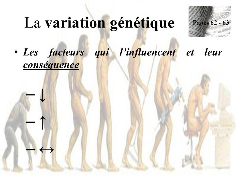 Les facteurs qui linfluencent et leur conséquence – – – La variation génétique Pages 62 - 63 21