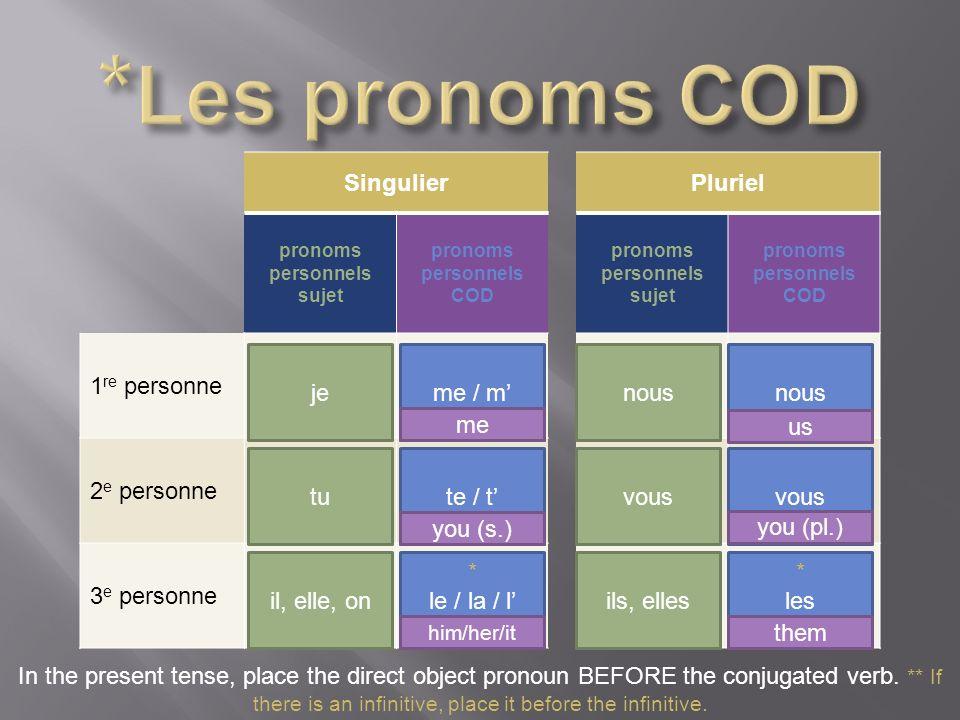 SingulierPluriel pronoms personnels sujet pronoms personnels COD pronoms personnels sujet pronoms personnels COD 1 re personne 2 e personne 3 e person