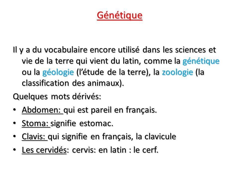 Génétique Il y a du vocabulaire encore utilisé dans les sciences et vie de la terre qui vient du latin, comme la génétique ou la géologie (létude de l