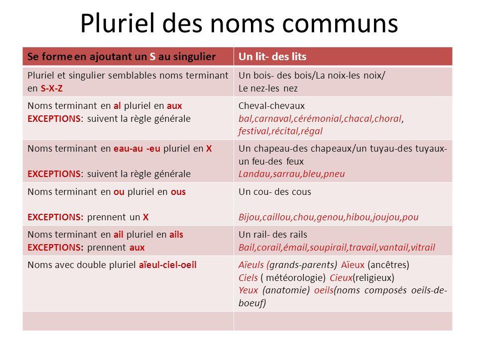 Pluriel des noms communs Se forme en ajoutant un S au singulierUn lit- des lits Pluriel et singulier semblables noms terminant en S-X-Z Un bois- des b
