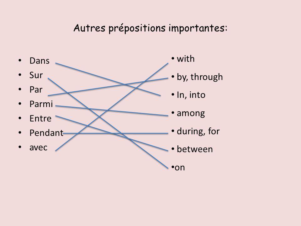 Autres prépositions importantes: Dans Sur Par Parmi Entre Pendant avec with by, through In, into among during, for between on