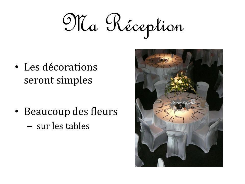 Ma Réception Les décorations seront simples Beaucoup des fleurs – sur les tables