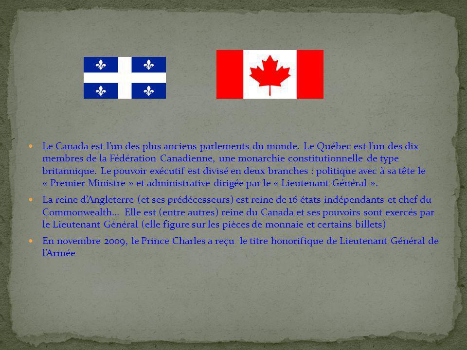 Le Canada est lun des plus anciens parlements du monde. Le Québec est lun des dix membres de la Fédération Canadienne, une monarchie constitutionnelle