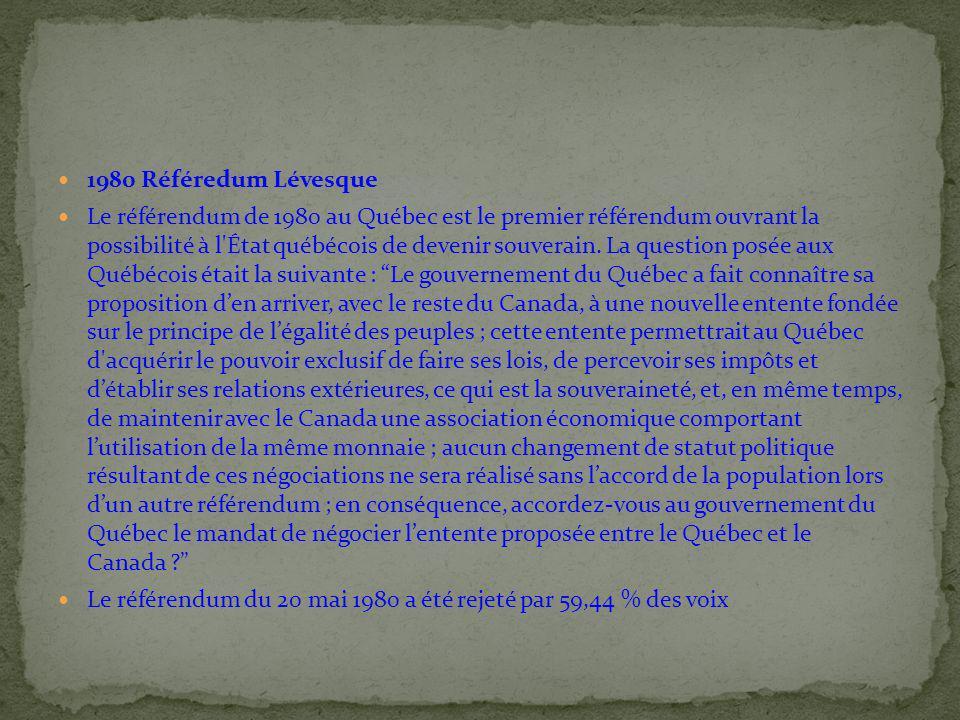 1980 Référedum Lévesque Le référendum de 1980 au Québec est le premier référendum ouvrant la possibilité à l'État québécois de devenir souverain. La q