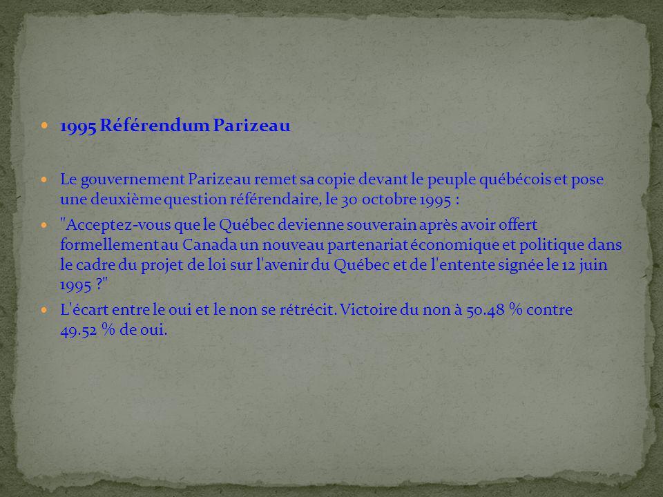 1995 Référendum Parizeau Le gouvernement Parizeau remet sa copie devant le peuple québécois et pose une deuxième question référendaire, le 30 octobre 1995 : Acceptez-vous que le Québec devienne souverain après avoir offert formellement au Canada un nouveau partenariat économique et politique dans le cadre du projet de loi sur l avenir du Québec et de l entente signée le 12 juin 1995 ? L écart entre le oui et le non se rétrécit.