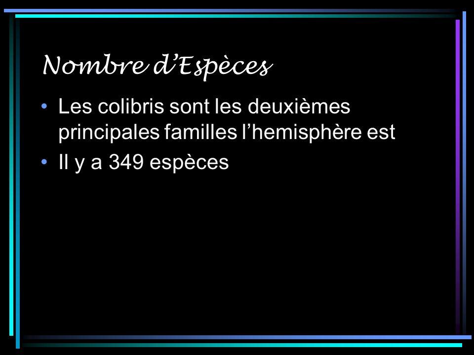 Nombre dEspèces Les colibris sont les deuxièmes principales familles lhemisphère est Il y a 349 espèces