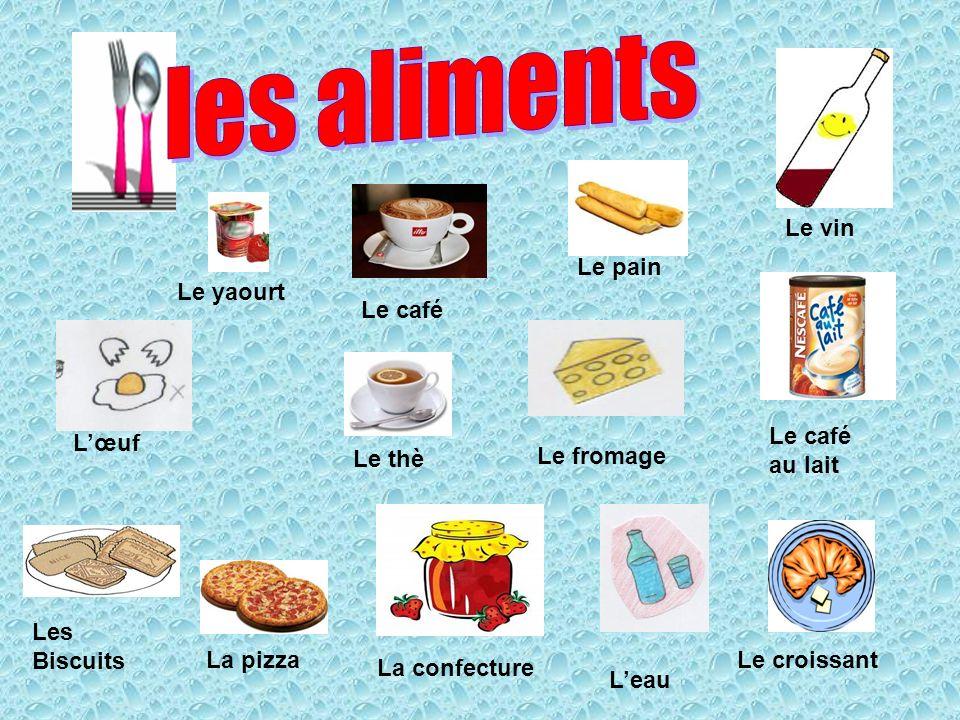 Le café Le pain Le thè Les Biscuits Le fromage La confecture Leau Le café au lait La pizzaLe croissant Le yaourt Lœuf Le vin