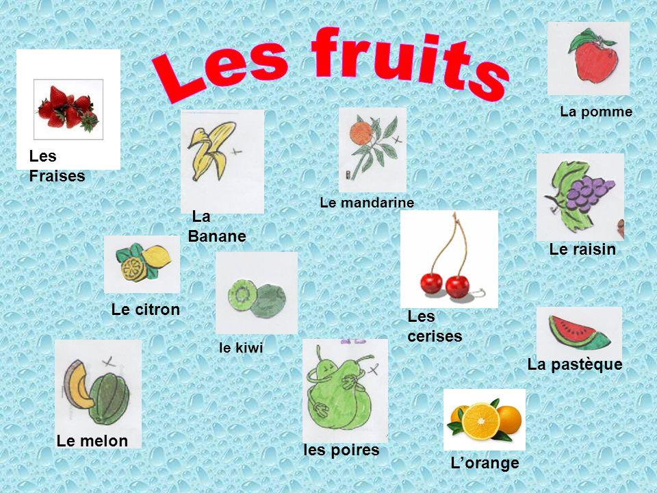 Les Fraises La Banane Le citron Le raisin La pastèque Le melon le kiwi les poires La pomme Le mandarine Lorange Les cerises