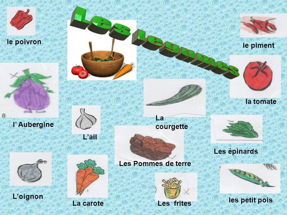 Les épinards le piment La carote les petit pois Les frites Lail Loignon PatatinePatatine la tomate Les Pommes de terre le poivron l Aubergine La courg