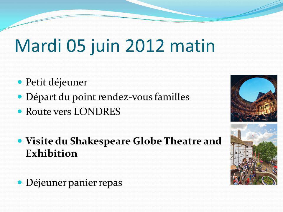 Mardi 05 juin 2012 matin Petit déjeuner Départ du point rendez-vous familles Route vers LONDRES Visite du Shakespeare Globe Theatre and Exhibition Déj