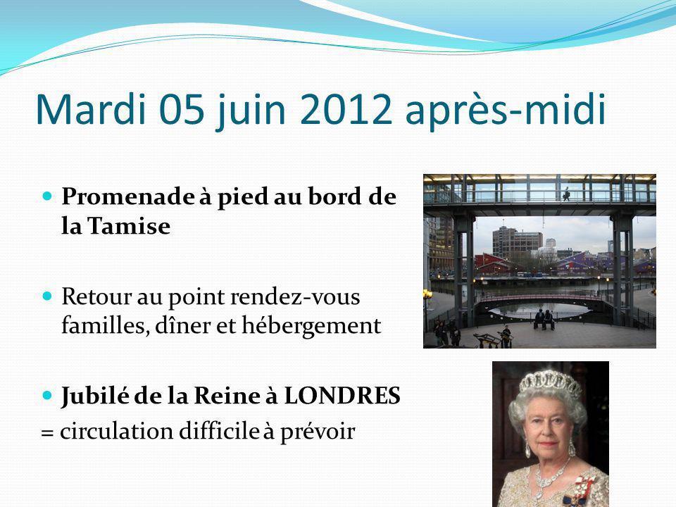 Mardi 05 juin 2012 après-midi Promenade à pied au bord de la Tamise Retour au point rendez-vous familles, dîner et hébergement Jubilé de la Reine à LO