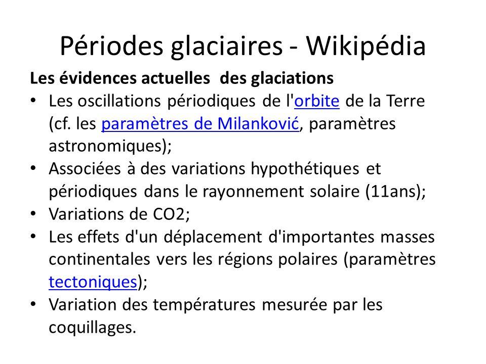 Périodes glaciaires - Wikipédia Les évidences actuelles des glaciations Les oscillations périodiques de l'orbite de la Terre (cf. les paramètres de Mi