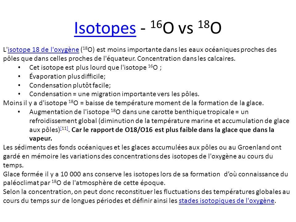 IsotopesIsotopes - 16 O vs 18 O L'isotope 18 de l'oxygène ( 18 O) est moins importante dans les eaux océaniques proches des pôles que dans celles proc