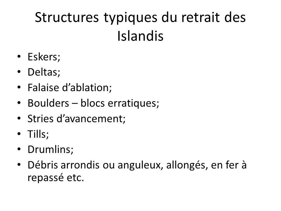 Structures typiques du retrait des Islandis Eskers; Deltas; Falaise dablation; Boulders – blocs erratiques; Stries davancement; Tills; Drumlins; Débri