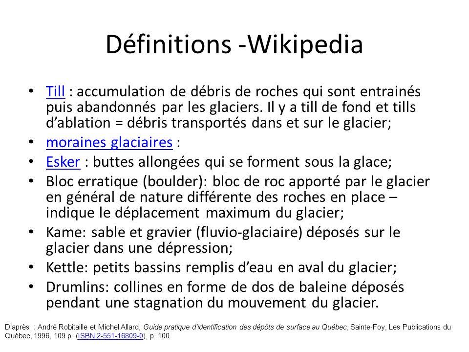 Définitions -Wikipedia Till : accumulation de débris de roches qui sont entrainés puis abandonnés par les glaciers. Il y a till de fond et tills dabla